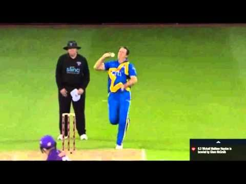 Hayden out Bowled - 2nd T20 Cricket All-Stars Series 2015 6.3Glenn McGrath to Hayden out Bowled!! Pigeon has the number of his fellow Australian opener! This was a short of a good length delivery and well outside off Hayden went hard on the pull gets a thick inside edge back onto the stumps. Swann is delighted and jumps on McGrath's back which Englishman wouldn't love seeing an Australian batsman walking back? Hayden b Glenn McGrath 32(15) [4s-2 6s-3] Glenn McGrath to Hayden THAT'S OUT…
