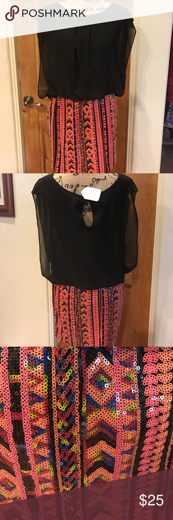 Spring Party Dress Size Large spring party dress, top portion is a layered black chiffon and the bottom is a muti colored sequin print (almost an Aztec pattern) Dresses Mini