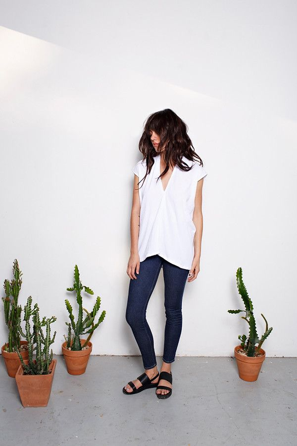 Everyday Top, Lined Cotton Gauze in White