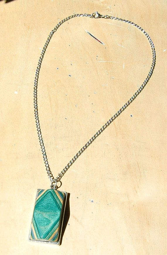 Check out our Rhombus Necklace made from Recycled Skateboard Wood with Stainless Steel Chain on our Etsy Shop