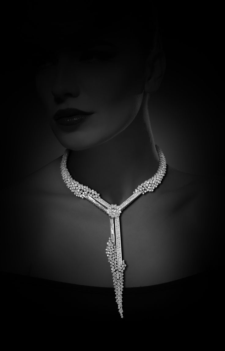 Y necklace set in white gold with diamonds from Y-Conic collection, YEPREM Jewellery