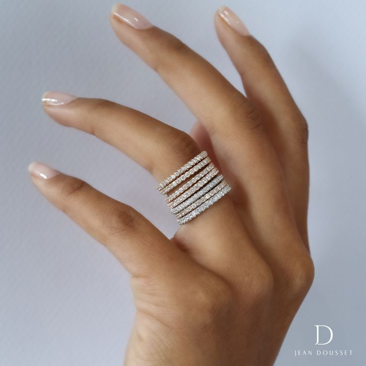 Stacking, diamond wedding bands handcrafted by Jean Dousset.