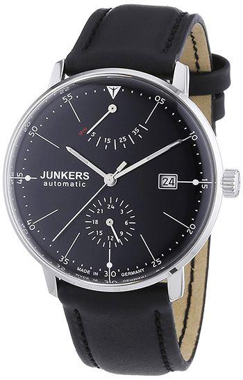 Montre Junkers Automatique Homme 60602 - Analogique - Cadran Acier inoxydable Argent - Bracelet Cuir Noir - Date