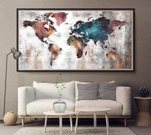 The 25 best world map art ideas on pinterest world maps world world map longer decor artlarge world mapworld map wall artworld gumiabroncs Image collections