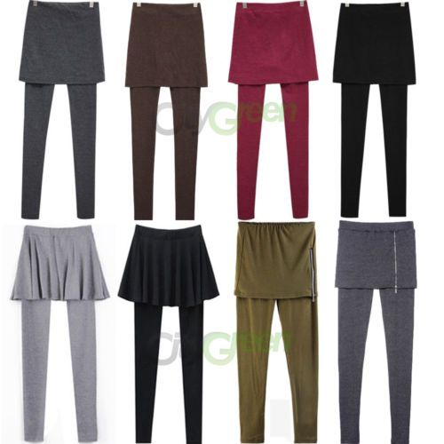 Women's Skirt Leggings Footless Cotton Pleated Tights Long Pants Stretch s M L   eBay