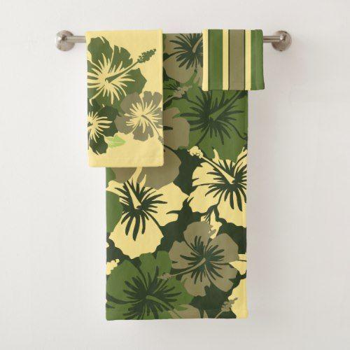 Epic Hibiscus Hawaiian Floral Coordinates Olive Bath Towel Set