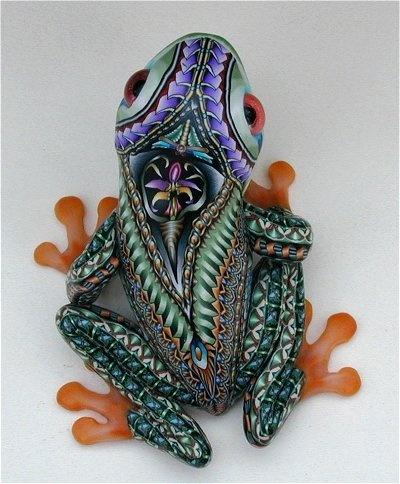 John Anderson polymer clay Papa Tree Frog