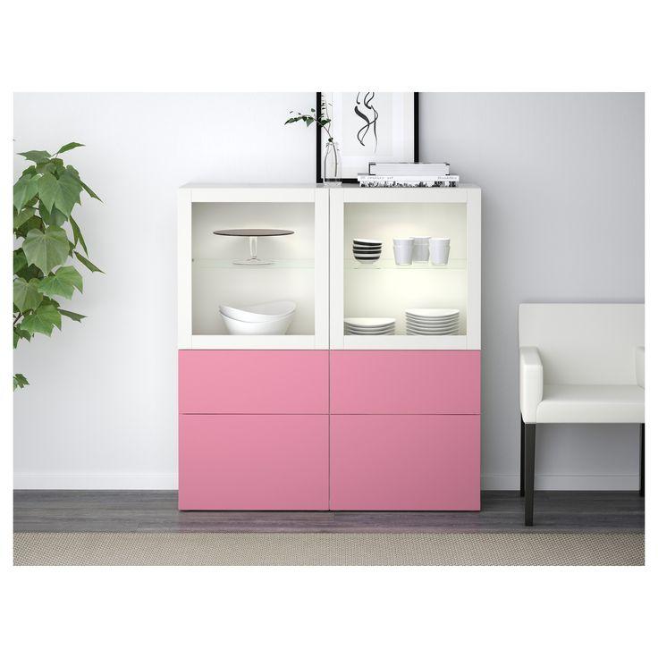 IKEA - BESTÅ Storage combination w/glass doors Lappviken pink, Sindvik