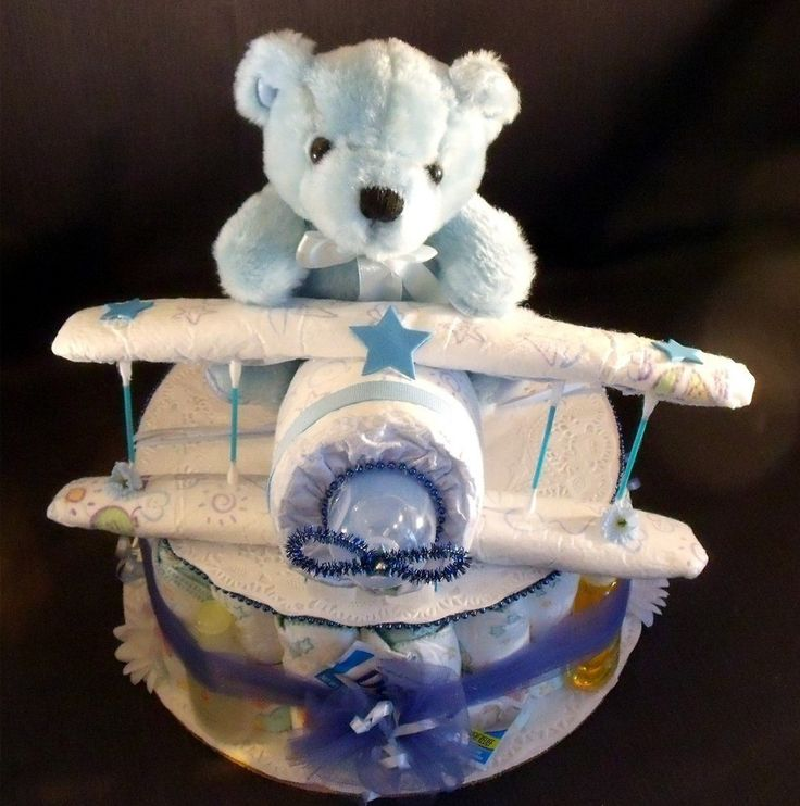 baby diaper cake roses for boy | Blue AIRPLANE Baby Shower Gift Boy Diaper Cake Centerpiece - Diapering