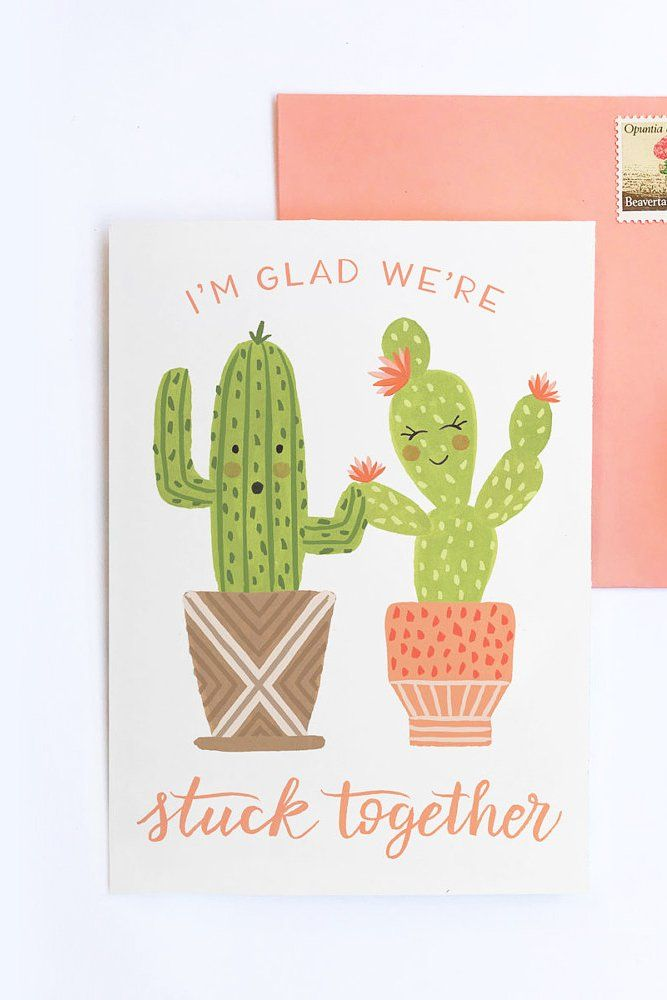 Stuck Together Cactus Card | Etsy | Cactus gifts, Valentine day love, Cards
