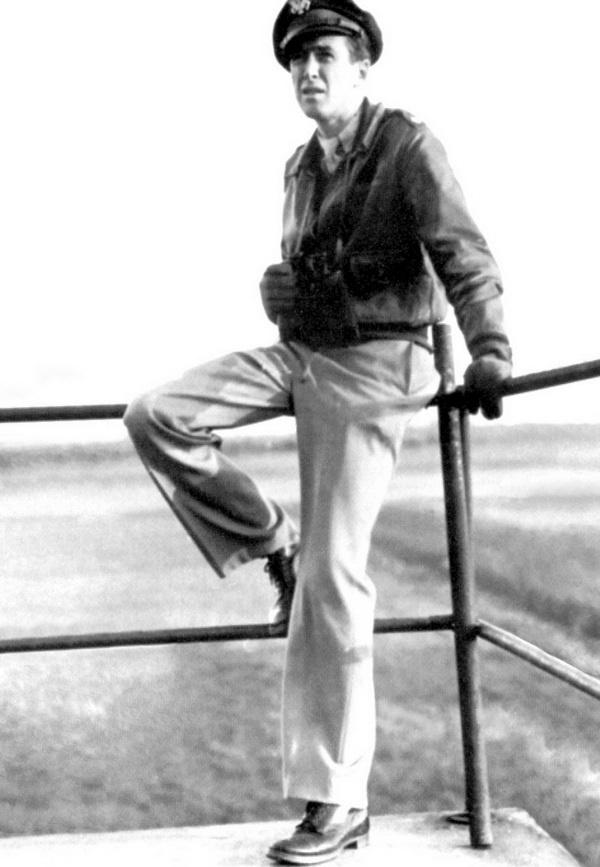 Major James Stewart on the control tower at Old Buckenham, 1944