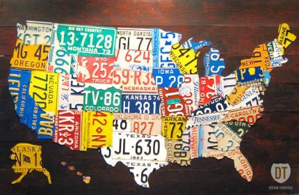 United States License Plate Map of the Fifty States: Plates Art, 50 States, License Plates, States Licen, Licen Plates, U.S. States, Plates Maps, Unitedstates, United States