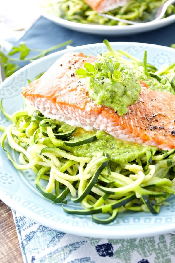 Tender, rich salmon is topped with a sweet pea pesto for the perfect spring meal. I serve mine over zucchini noodles, but pasta, rice, or mixed vegetables would work too!