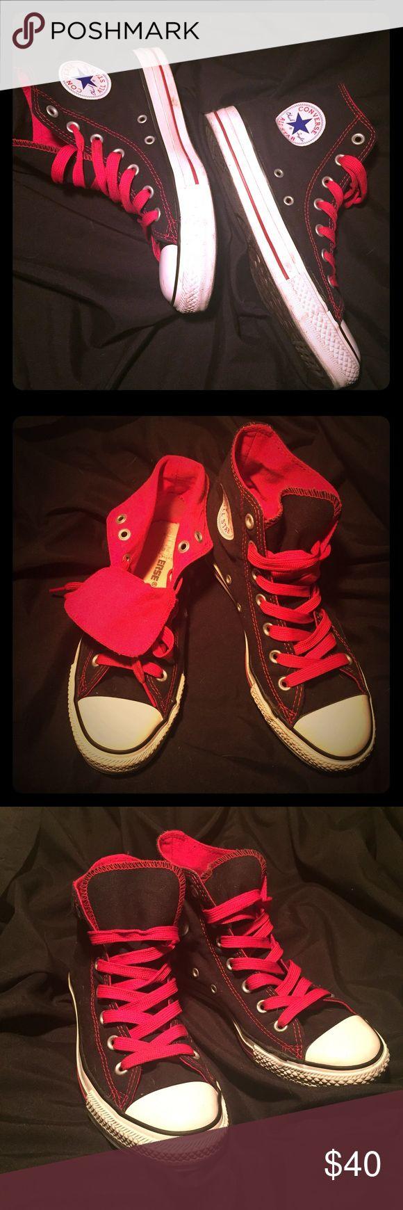 Converse/Chuck Taylor's hi tops size 6= women's 8 Converse/ Chuck Taylor's hi tops- black and red. Size 6 men's, size 8 women's (fit 8.5 also). Excellent condition/worn a couple times. Converse Shoes Sneakers