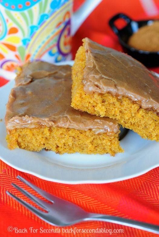 Pumpkin Sheet Cake with Brown Butter Cinnamon Icing - insanely delicious!! #pumpkincake #pumpkindessert #brownbutter