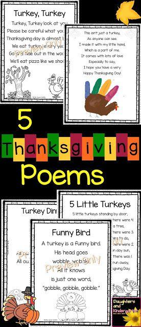 5 Thanksgiving Poems for Kids | turkey turkey | turkey dinner | Funny Bird | handprint poem | 5 Little Turkeys