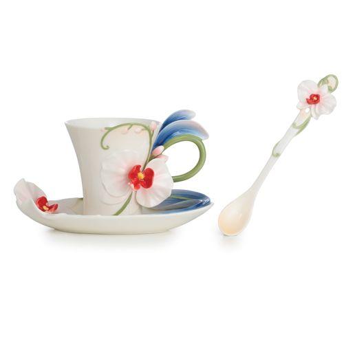 Franz Collection Inc. Graceful orchid flower design sculptured porcelain cup/saucer/spoon set