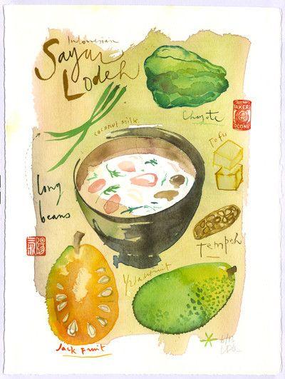 Indonesian Sayur Lodeh recipe - Original watercolor painting