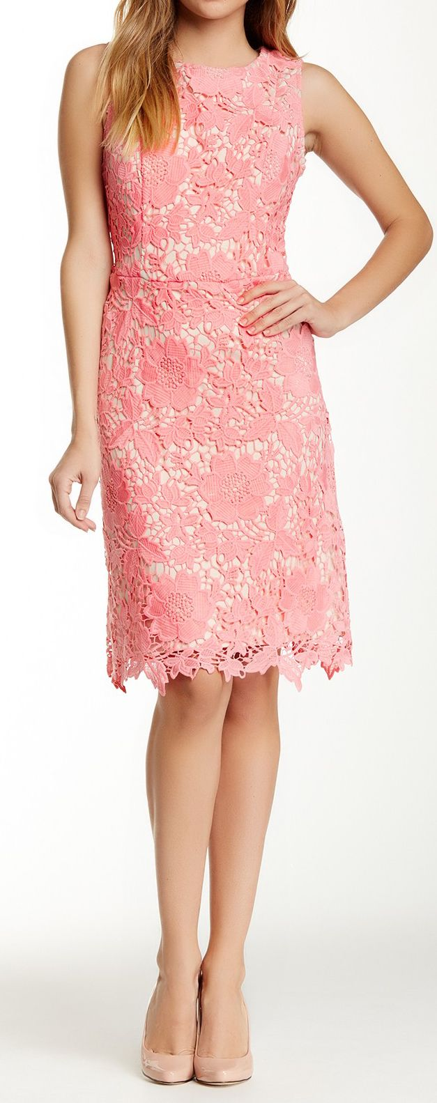 Petal pink crochet lace dress
