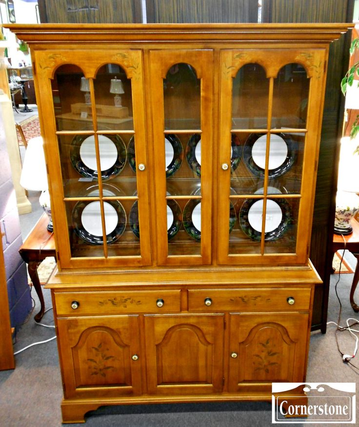 Hitchcock Maple Stenciled China Cabinet