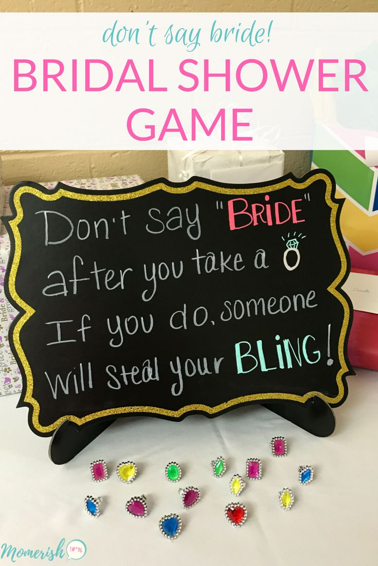 Don't Say Bride! - This fun Bridal Shower Game Idea is super easy to set up and your guests will have a blast trying to steal each other's bling!