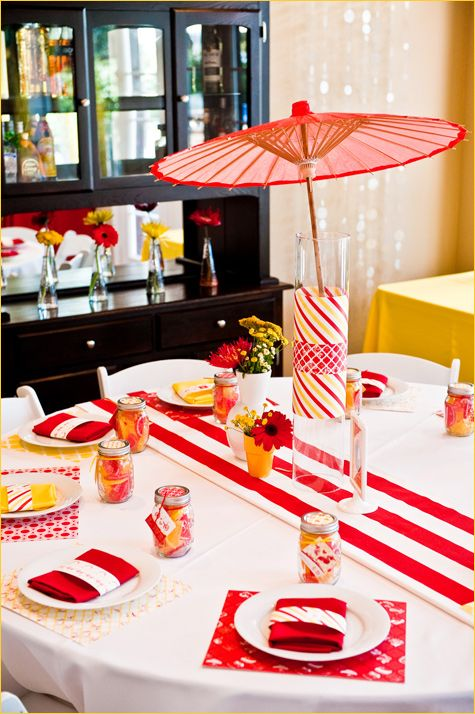 parasol and table settings