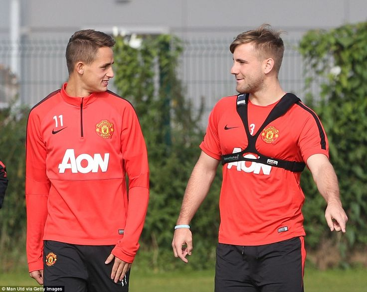Next generation: United youngsters Adnan Januzaj (L) and Luke Shaw (R) get to know each other ahead of United's next game against QPR