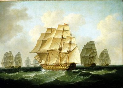 Strachan's action after Trafalgar, 4 November 1805 Postcards, Greetings Cards, Art Prints, Canvas, Framed Pictures & Wall Art by Francis Sartorius