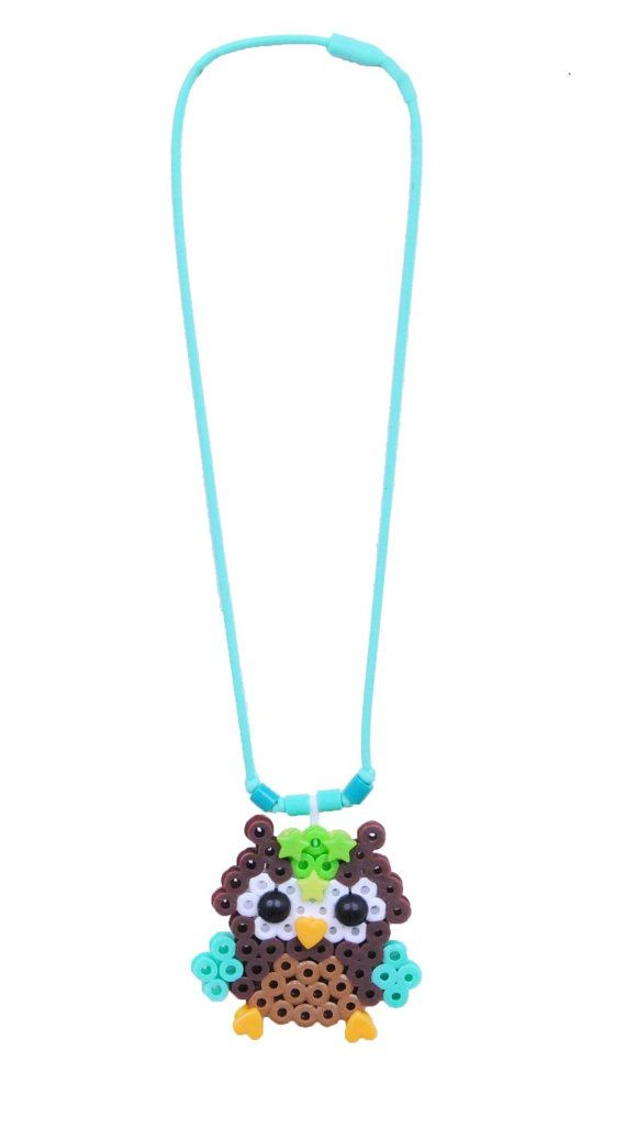 Owl Necklace Perler Beads by iluvdesign
