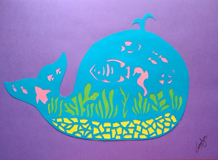 Paper cutting. Whale.  An ocean within. Under the sea