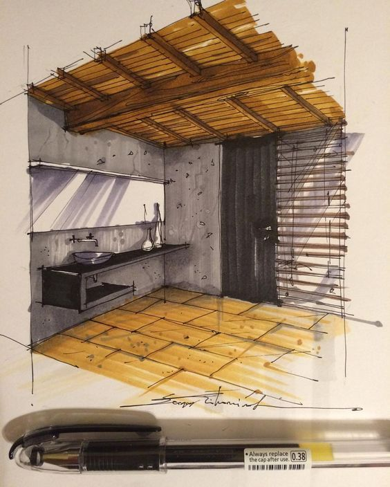 Interior design sketching
