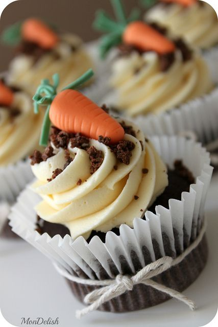 Easter Carrot Cupcakes  - Chocolate cupcakes with vanilla buttercream, complete with chocolate dirt & gum paste carrot ~ by MonDelish