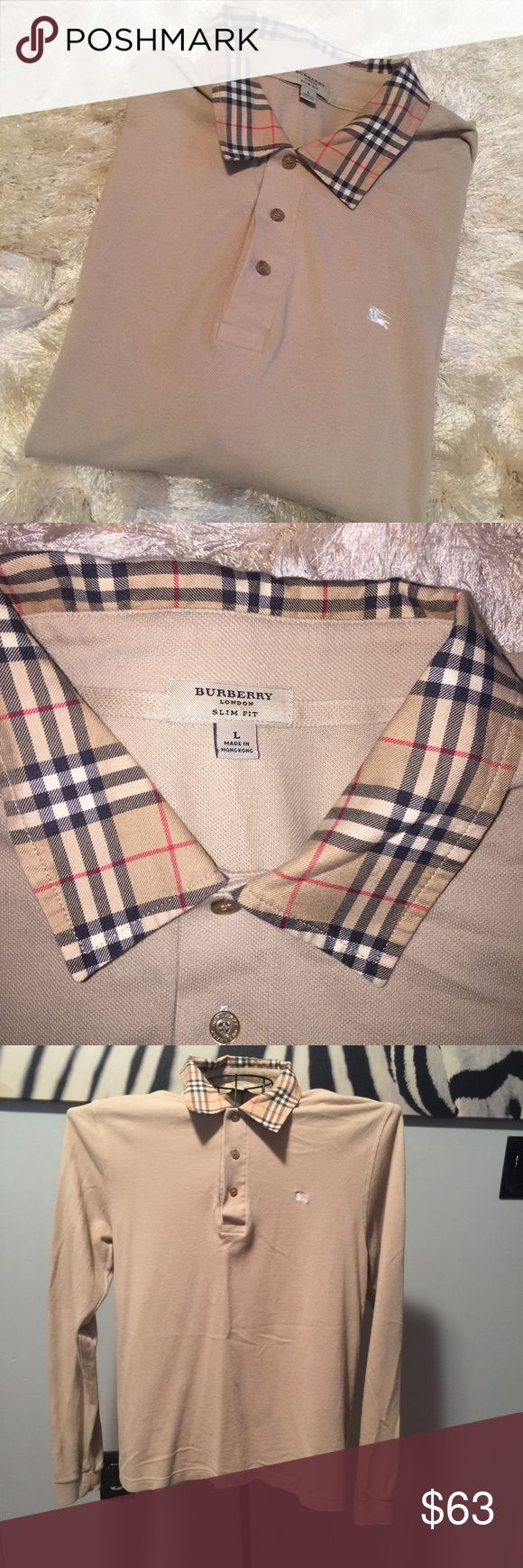 •Burberry• Men's Long Sleeve Polo Authentic - excellent condition. No stains/tears. Smoke free home.   Slim fit - men's large   No trades/holds Burberry Shirts Polos