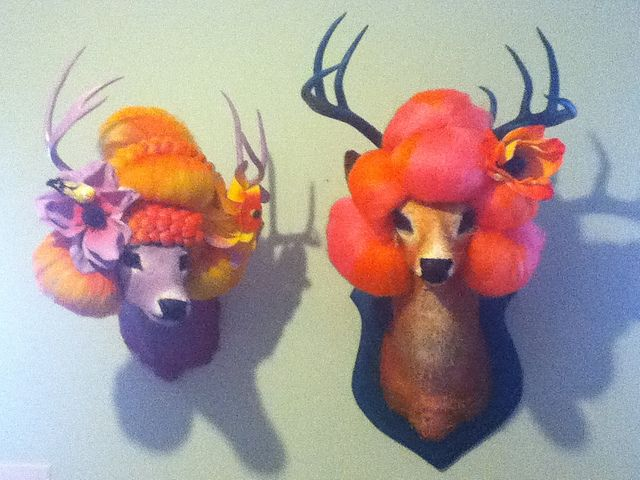 taxidermy art, I think this is the only way I would have a mounted deer hear in my house lol