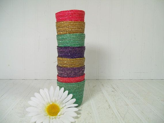 Vintage Colorful Raffia Beverage Coasters Set of 8 - Retro Group of 8 Wicker Woven Cup Holders in Mid Century Colors - Mad Men Party BarWare $9.00  by DivineOrders