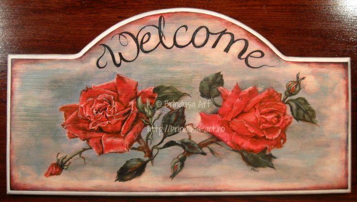 Welcome entrance plaque I was commissioned to paint… Roses, acrylic painting on wood. One of a kind. Placă de pus la intrare, cu o urare de bun venit, pe care am pictat-o la comandă… Trandafiri, pictură în culori acrilice pe lemn. Unicat. #woodpainting #picturapelemn #commissionedart #lacomanda #personalized #personalizare #welcome #roses #trandafiri #bunvenit #gift #cadou #handmade #acrylics #acrilice #oneofakind #unicat #BrindusaArt