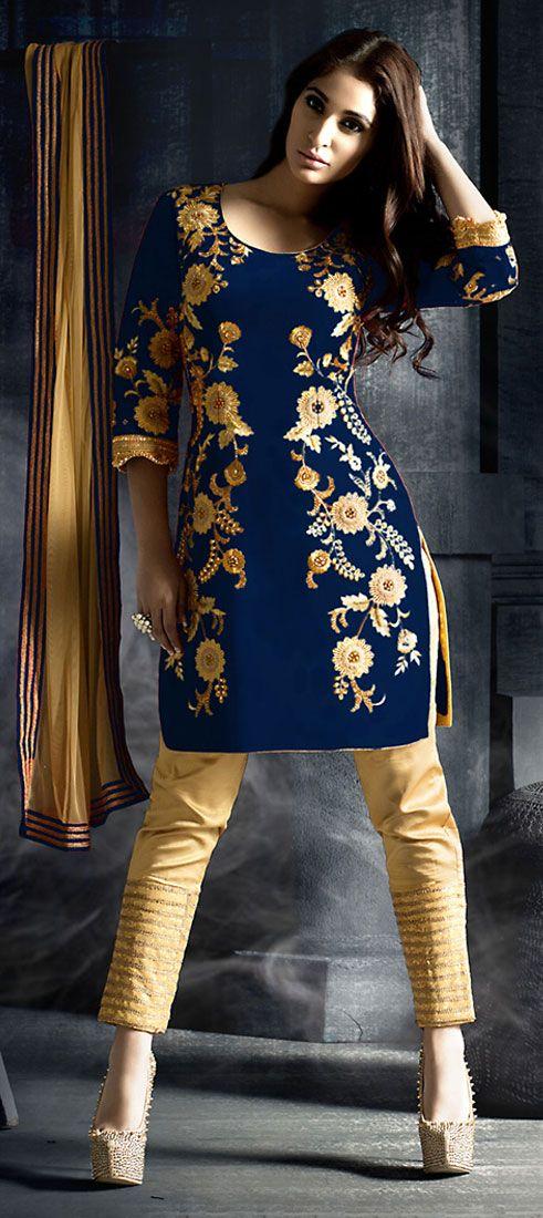 459655: Blue color family unstitched Party Wear Salwar Kameez .