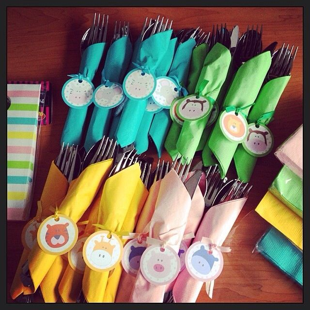 Cute Noah's Arc napkin ties-  Check out our website for personalized invitations, thank you notes, and party favors!! Lots of great themes to choose from! www.candlesandfavors.com