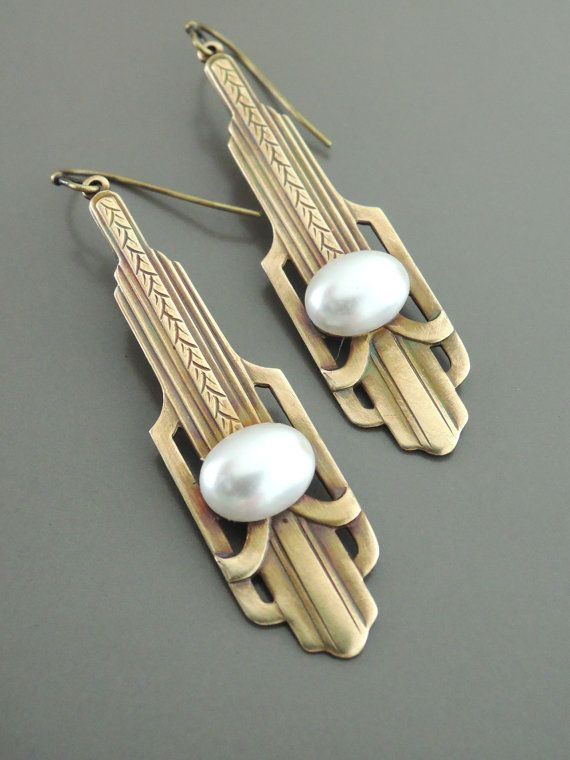 Amazing Pearl Earrings – Art Deco Earrings – Chloe Vintage Brass Jewelry – June Birthsto…