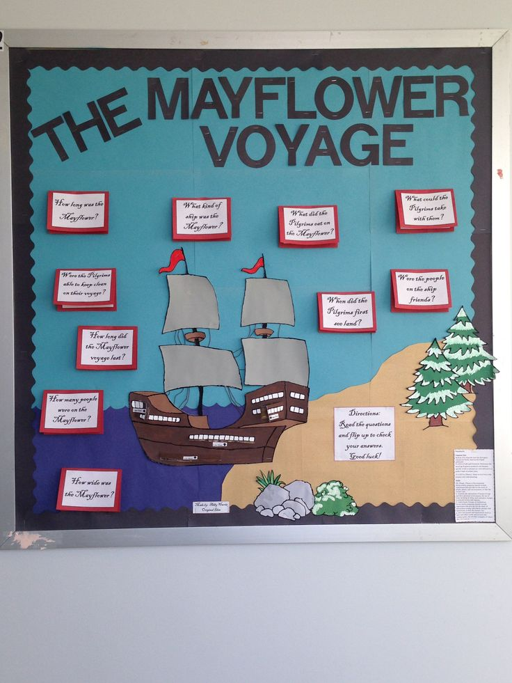 "This is an interactive bulletin board about the Mayflower voyage.  The students can read questions and flip it up to find out the answers.  There are also parts of the ship that open so students can see ""inside"" different areas of the ship."