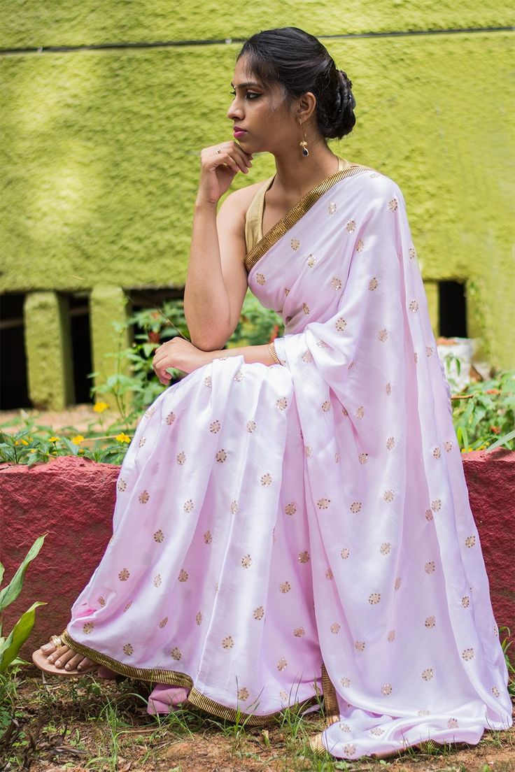 Baby pink cotton satin saree with floral sequin motifs and antique gota border  #saree #blouse #houseofblouse #indian #bollywood #style #babypink #pastel #satin #cotton #floral #sequin #motifs #antique #gota #border