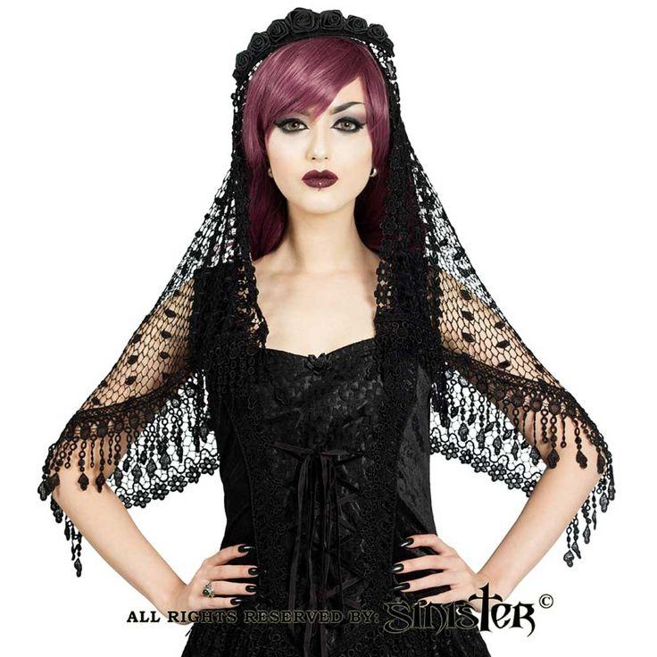 Sinister Rena gehaakte Venetiaanse sluier met hoofd accessoire en kant