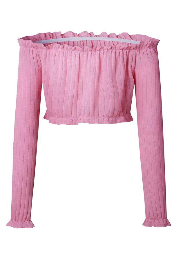 6239496ec62c64 Sexy Off Shoulder Long Sleeve Ruffle Plain Bodycon Crop Top Pink ...