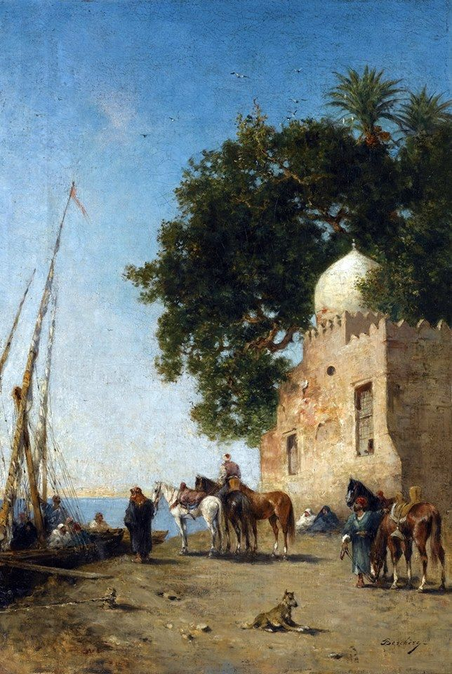 Beni Souef , Egypt  By Narcisse Berchère - French - 1819 - 1891  Oil on canvas , 61.5cm X 42cm
