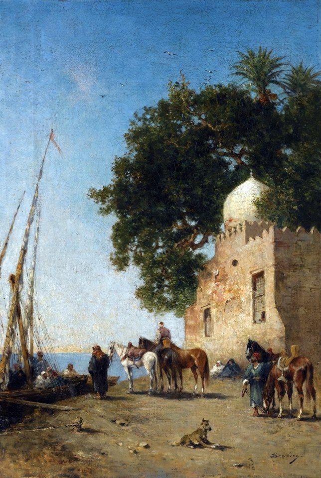 Beni Souef , Egypt  By Narcisse Berchère - French - 1819 - 1891  Oil on canvas , 61.5cm X 42cm