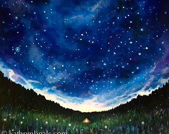Night Sky Painting with Rowboat Landscape Photo by kathrynbeals