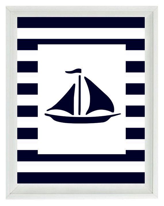 Nautical Nursery Sailboat Wall Art Print  - Navy Blue White Stripes - Children Room Home Decor Beach House