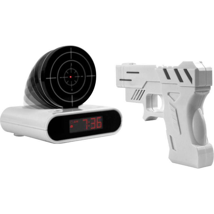 Shooting Laser Toy Gun Alarm Clock Target Panel Shooting LCD Screen Toy Games Gifts White
