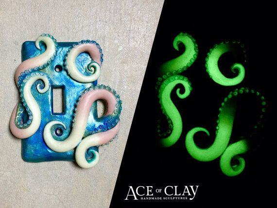 Fantasy Blue Glow In The Dark Light Switch Cover With Tentacles Teal  Bedroom Bathroom Home Decoration Octopus Custom Sea Shells Beach Art