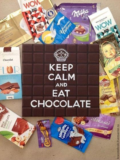 """Wood poster """"Шоколад"""" (табличка интерьерная, вывеска декоративная панно). 30х30 см, #Handmade Очередной изыск творческой мастерской """"Красим доски"""" на тему Keep calm пробуждает аппетит. """"Сохраняй спокойствие и ешь шоколад!""""  В подарок для самых сладких!  Собственный дизайн шоколадной плитки))). Все нарисовано вручную! #krasimdoski #keepcalm #шоколад #табличка #вывеска #woodposter  Дарится вместе с шоколадкой... или коробкой разных шоколадок.))))"""